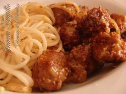 Albóndigas a la Mostaza Con Espaguetis