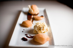 Poached Pears With Chocolate And Blue Cheese