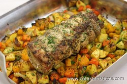 Roasted Pork Loin With Potatoes And Butternut Squash