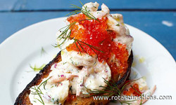 Prawn And Caviar on Toast (toast Skagen)