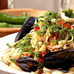 Fettuccine With Fresh Seafood And a Green Harissa Dressing