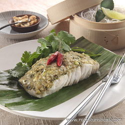 Barramundi Steamed in Banana Leaf With Salted Soy Beans